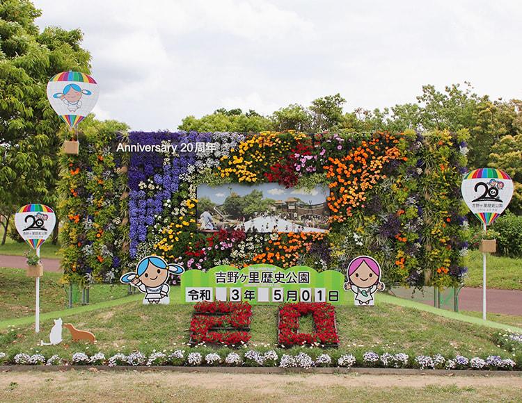 花で背景と20の文字を形作ったフラワーウォール